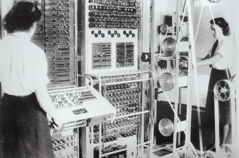 """Picture number: COM/B911217 Description: A selection of images relating to code-breaking at Bletchley Park incliuding Wrens operating the Colussus, code-breaking personnel and the """"Colussus"""". Credit: Science Museum/Science & Society Picture Library All images reproduced must have the correct credit line.  Clients who do not print a credit,  or who print an incorrect credit, are charged a 100% surcharge on top of the relevant  reproduction fee.  Storage of this image in digital archives is not permitted.  For further information contact the Science & Society Picture Library on (+44) 207 942 4400."""