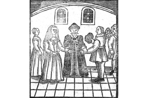 XJF368420 A Marriage Ceremony, an illustration from 'A Book of Roxburghe Ballads' (woodcut) (b/w photo) by English School, (17th century); Private Collection; (add.info.: collection of broadside ballads collected by Robert Harley, 1st Earl of Oxford and Mortimer, and later John Ker, 3rd Duke of Roxburghe; published together by John Payne Collier in 1847;); English, out of copyright