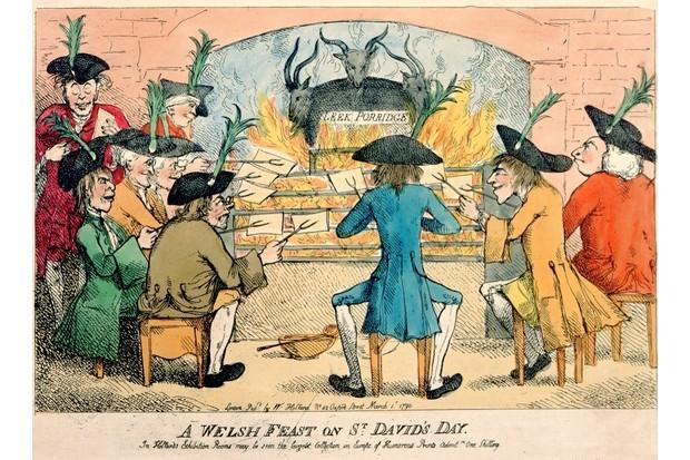 A Welsh Feast on St David's Day, 1790 (colour etching). (British Museum, London, UK/Bridgeman Images)