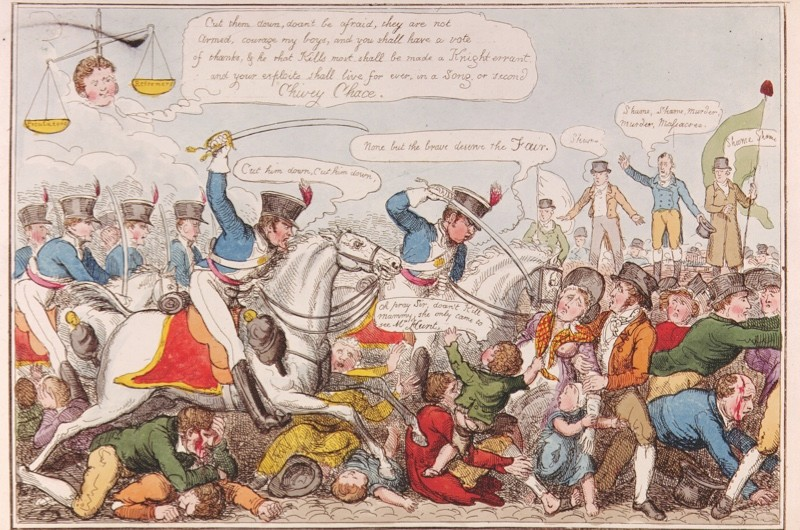 Panic ensues in this depiction of the Peterloo Massacre, published in 1819. (The art archive/Getty Images)