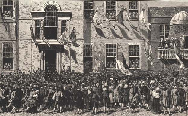 America rejects the mother country: a 19th-century engraving depicts the moment the Declaration of Independence was read out at Philadelphia in 1776. (Photo by Art Archive)
