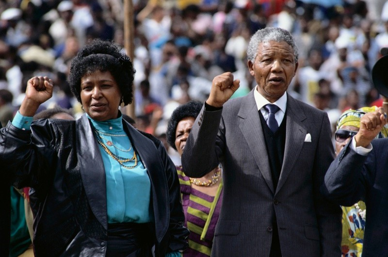 Nelson and Winnie Mandela days after his release, 1990. (Photo by Gideon Mendel/Corbis)