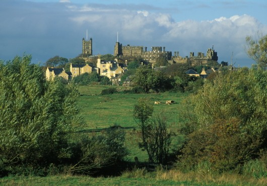 ADJ4CD Castle Hill from Lucy Brook Lancaster Lancashire with the outlines of Lancaster Castle and Priory Church