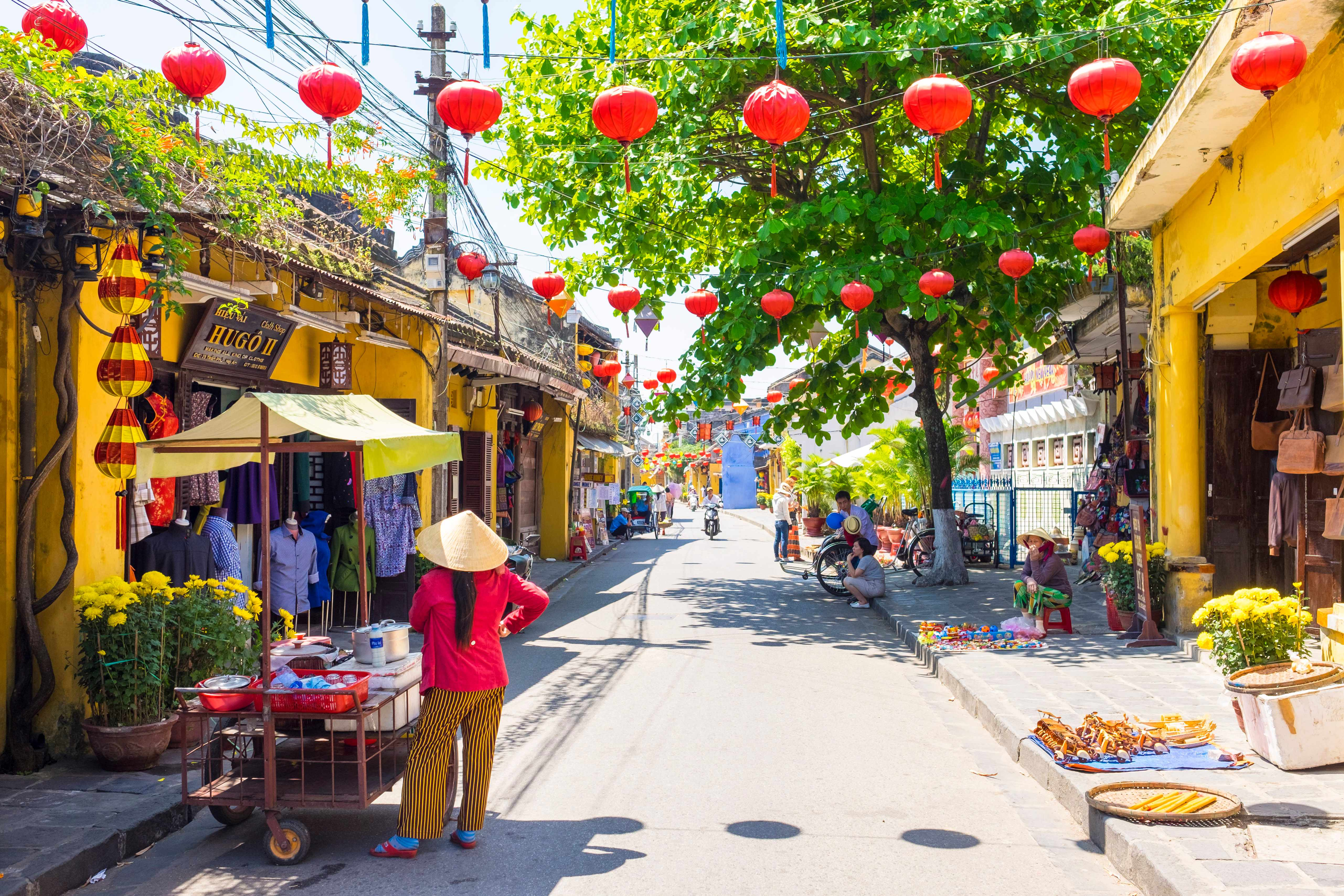 A Vietnamese woman with a food cart on the street in Hoi An Ancient Town, Hoi An, Quang Nam Province, Vietnam