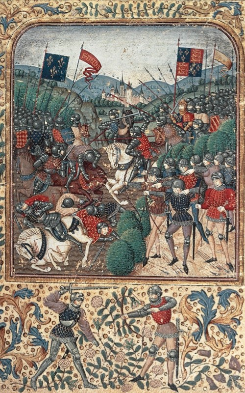 A 15th-century image of the Battle of Agincourt. (DeAgostini/Getty Images)