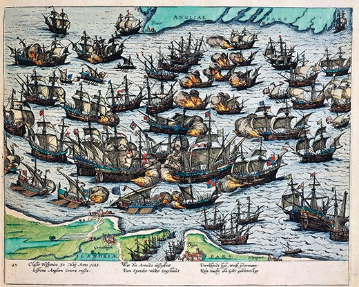 BFNE1K Defeat of the Spanish Armada off Plymouth, England, 30 May 1588, engraving by Hogenberg, late 16th - early 17th century