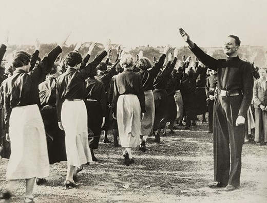 DD77M2 Sir Oswald Mosley at Black Shirt Rally, London, Sept. 14, 1934. As leader of the British Union of Fascists, he takes salute