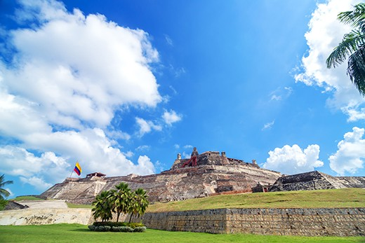 DXBBB4 Historic San Felipe de Barajas castle is one of the main attractions in Cartagena, Colombia