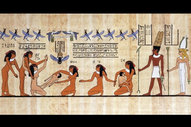 A reconstruction of a Theban painting from the Ancient Egyptian Dynasty XIX depicting a childbirth scene. The mother is seen being helped by her handmaidens and a midwife. Photo by DeAgostini/Getty Images)