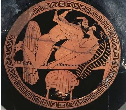 An ancient Greek vase depicting sexual intercourse