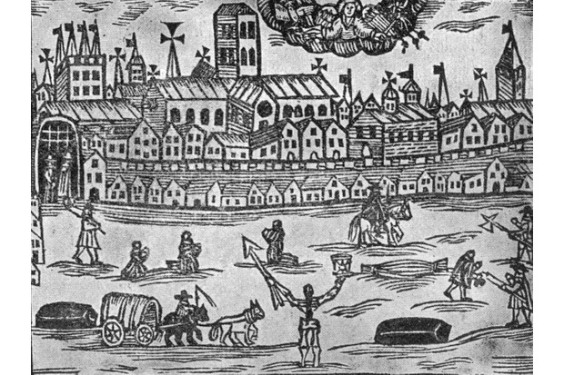 The angel of death presides over London during the Great Plague of 1665–66, holding an hourglass in one hand and a spear in the other. Published in 'The Intelligencer', 26 June 1665.
