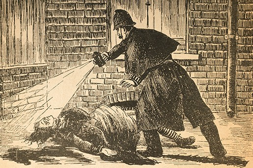 A picture from the 'Illustrated Police News' shows Constable Watkins discovering the body of Catherine Eddowes, whose left kidney was removed by 'Jack the Ripper'. (Photo by Art Archive)