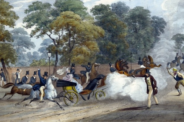 Attempted assassination of Queen Victoria (1819-1901). On the evening of Wednesday 10 June 1840 Victoria and Prince Albert were travelling in a carriage along Constitution Hill near Buckingham Palace, London, when Edward Oxford fired a pistol at the Queen