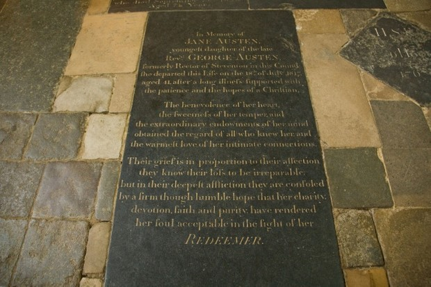 Jane Austen's gravestone in Winchester Cathedral, Hampshire, England. (Photo by Peter Barritt/Alamy Stock Photo)