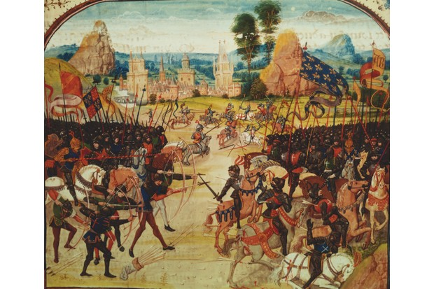 English longbowmen create havoc among enemy ranks in this 14th-century depiction of the battle of Poitiers. The clash would trigger an unlikely love affair between French king John II and England. (Bridgeman Art Library)
