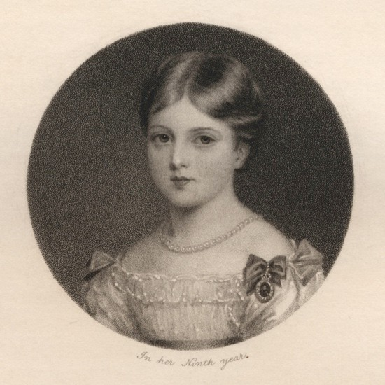 Thomas Woolnoth's engraving of Princess Victoria, when she was nine years old. (Photo by Bridgeman Art Library)