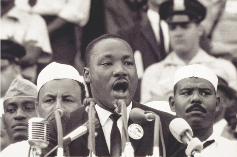 """28 Aug 1963, Washington, DC, USA --- Martin Luther King Jr., gives his """"I Have a Dream"""" speech to a crowd before the Lincoln Memorial during the Freedom March in Washington, DC, on August 28, 1963. The widely quoted speech became one of his most famous. --- Image by © Bettmann/CORBIS"""