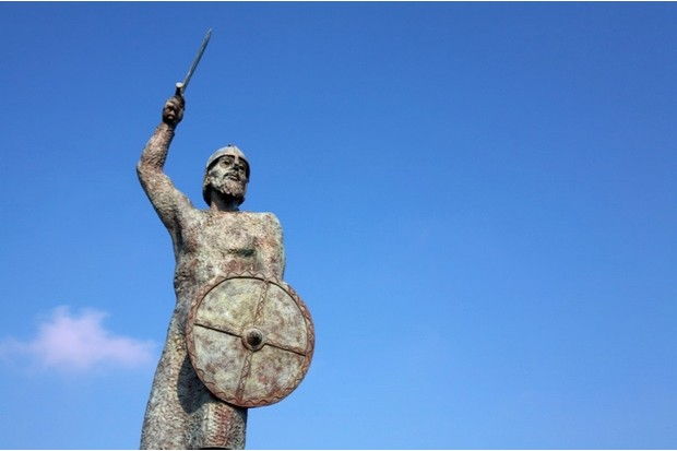 BEFXEA Great Britain England Essex  Maldon Byrhtnoth monument statue England Maldon Essex historical place Battle of Maldon AD991. Image shot 2009. Exact date unknown.