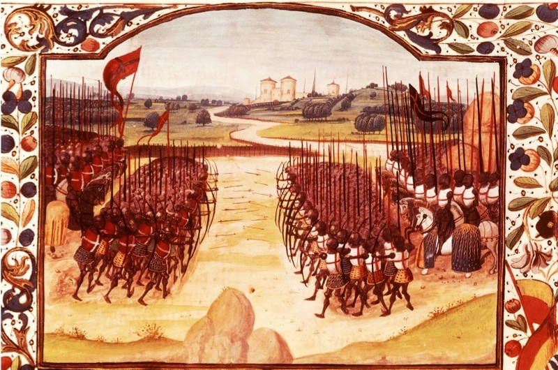 BFJPH8 Battle of Agincourt, October 25, 1415, English army under King Henry V of England defeated the French under Charles...