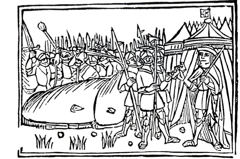 Illustration shows James IV ceding his crown following defeat at the battle of Flodden. (Picture by Pictorial Press Ltd / Alamy Stock Photo)