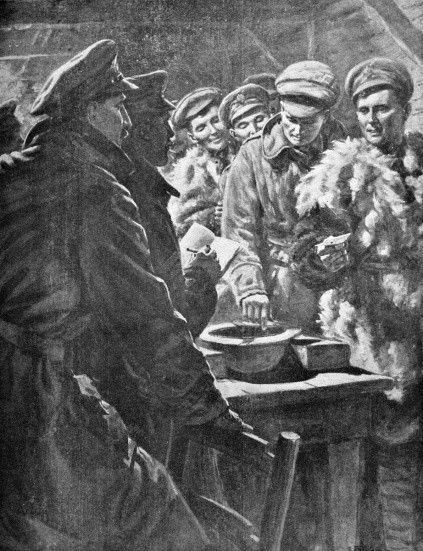 Contemporary illustration showing British troops drawing lots in France in 1916 to determine who gets leave at Christmas. (© Archive Images/Alamy)