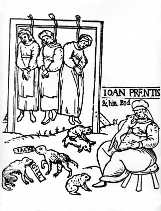 Execution of three witches by hanging, woodcut, 1589. (© INTERFOTO/Alamy)