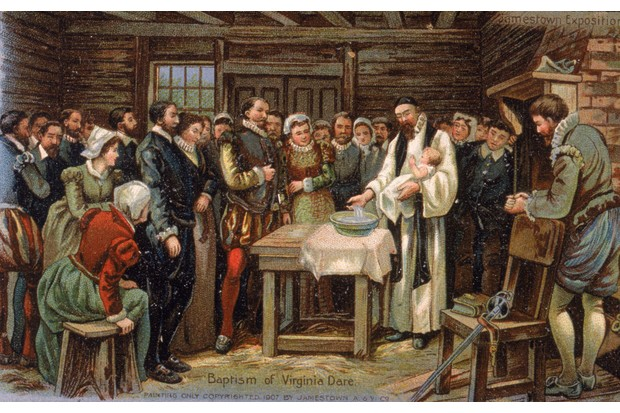 A painting of the baptism of Virginia Dare, the first English child born in the New World