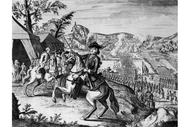 William Augustus, the Duke of Cumberland (1721 - 1765) leads the British army across the River Spey before the Battle of Culloden in Scotland, 16th April 1746. The battle resulted in a British victory over the Jacobites, who hoped to place Bonnie Prince Charlie on the throne. An engraving by T. Bakewell. (Photo by Hulton Archive/Getty Images)