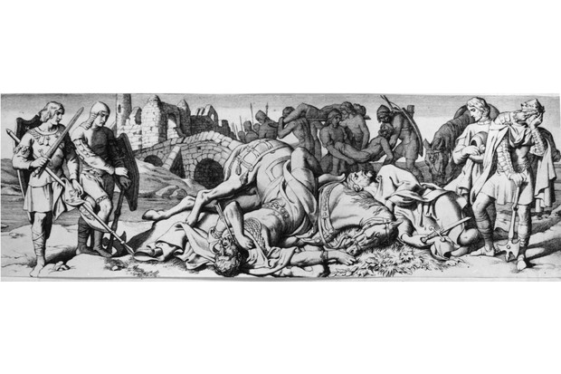25th September 1066, King Harold II (c.1020 - 1066), the Saxon king of Britain beholds the body of his rebellious brother Tostig, whom he has just defeated at the Battle of Stamford Bridge, Yorkshire. Next to Tostig lies his ally, King Harold III (1015 - 1066) or Hardrade of Norway. By D. Maclise. (Photo by Hulton Archive/Getty Images)