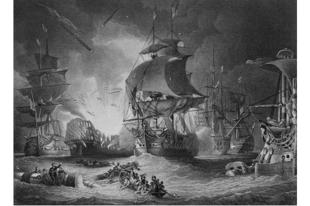 The flagship of Admiral Brueys, the Orient, an118-gun ship of the line of the French Navy explodes during the Battle of the Nile (also known as the Battle of Aboukir Bay) during the French Revolutionary Wars on 1 August 1798 off Aboukir Bay, Egypt, Ottoman Empire. An engraving by Lawrie from an original painting by George Arnald. (Photo by Hulton Archive/Getty Images)