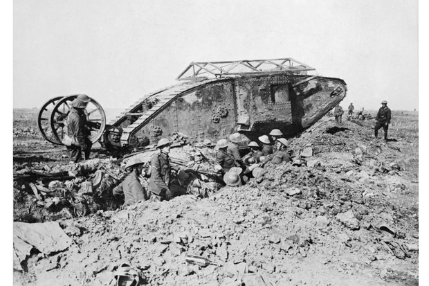 Mark I 'Male' Tank of 'C' Company that broke down crossing a British trench on its way to attack Thiepval on 25 September 1916 during the battle of the Somme. Ministry of Information First World War Official Collection. (Photo by Lt E Brooks/ IWM via Getty Images)