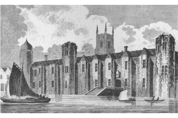 South front of Baynard's Castle, London, in about 1640, 1790 (1904). Baynard?s Castle refers to a number of buildings situated on the Thames. The former house was reconstructed as a royal palace by Henry VII at the end of the 15th century. Henry VIII gave it to Catherine of Aragon on the eve of their wedding. Baynard's Castle was left in ruins after the Great Fire of London in 1666, although fragments survived into the 19th century. From London in the Time of Tudors, by Sir Walter Besant. [Adam & Charles Black, London, 1904].  Artist: Andrew Birrell. (Photo by The Print Collector/Getty Images)