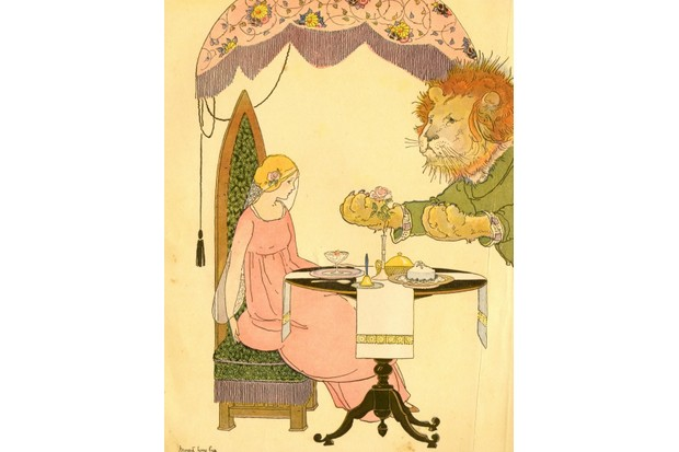 A page from 'Once Upon A Time, A Book Of Old-Time Fairy Tales,' by Katharine Lee Bates and illustrated by Margaret Evans Price, 1921. This page, from the story of 'Beauty and the Beast,' shows the beast as he pleads with the beauty, who is seated at a dinner table. New research suggests the 'Beauty and the Beast' tale is 4,000 years old. (Photo by Buyenlarge/Getty Images)