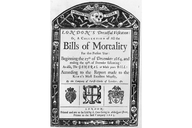 The title page of London's 'Bills of Mortality' (1665). (Photo by Hulton Archive/Getty Images)