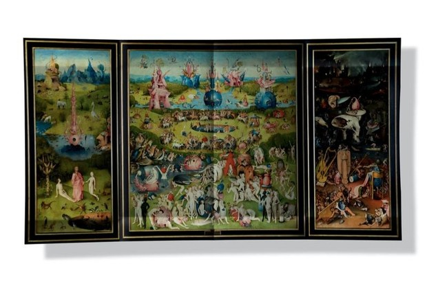 A triptych by Netherlandish artist, Hieronymus Bosch, depicting religious scenery.