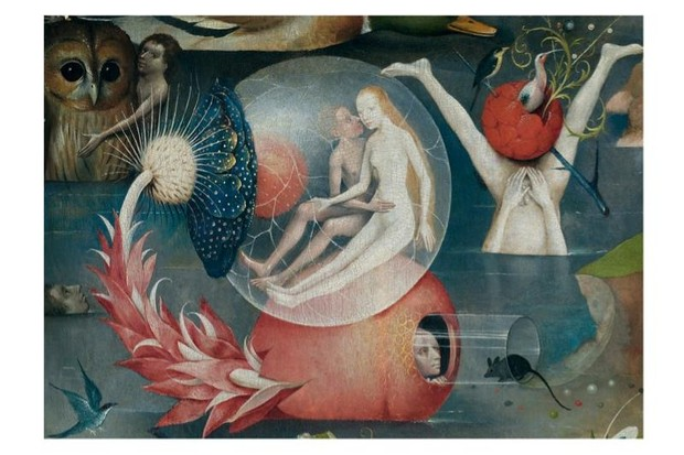 A section of a painting by Netherlandish painter Hieronymus Bosch, depicting life on earth before the Flood.