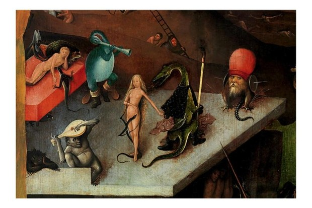 A section of a painting by Netherlandish artist Hieronymus Bosch.