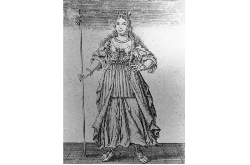 c60 AD, Queen Boadicea of the Iceni holding a spear. (Photo by Hulton Archive/Getty Images)