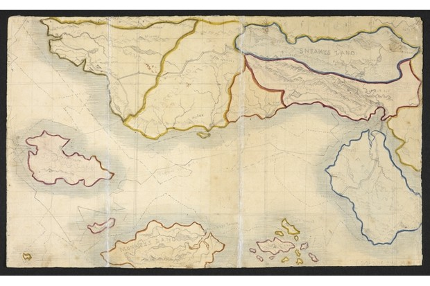 Branwell Brontë's map of Angria, c1830–1831. From 'The History of the Young Men from their First Settlement to the Present Time', Branwell's fictional chronicle of 12 adventurers who set sail for West Africa. (British Library)