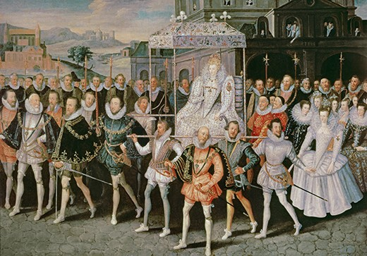 JWD5530 Queen Elizabeth I (1533-1603) being carried in Procession (Eliza Triumphans) c.1601 (oil on canvas) by Peake, Robert (fl.1580-1626) (attr. to); 132x190.5 cm; Private Collection; (add.info.: foreground Edward Somerset, 4th Earl of Worcester (1553-1628) Master of the Horse;); English,  out of copyright