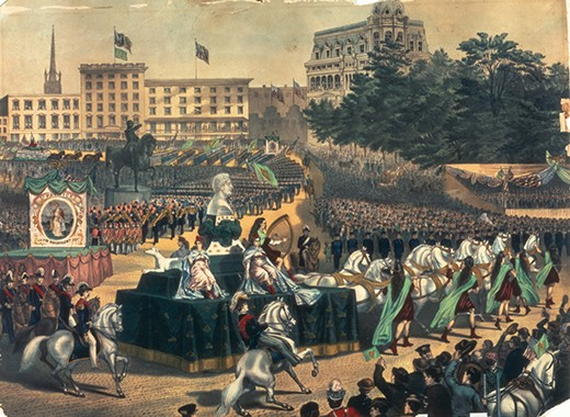 A St Patrick's Day Parade in America, Union Square, 1870s, from a colour lithograph.