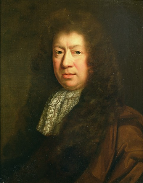 MOU39513 Portrait of Samuel Pepys (1633-1703), copy after John Riley (1646-91) (oil on canvas) by Closterman, Johann (1660-1711); Private Collection; Photo © Philip Mould Ltd, London; German,  out of copyright