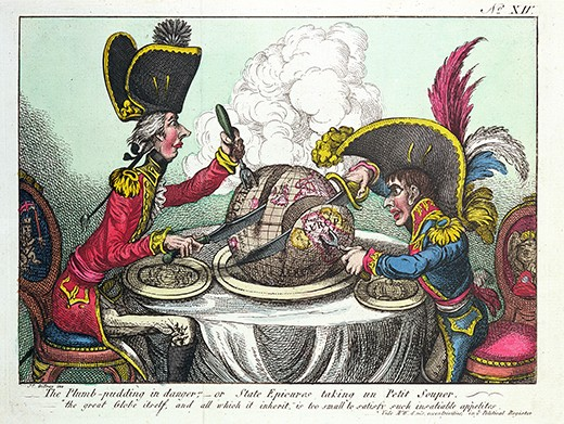 XIR158226 The Plum Pudding in Danger, 1805 (coloured engraving) (see also 152999) by Gillray, James (1757-1815); Musee de la Ville de Paris, Musee Carnavalet, Paris, France; (add.info.: William Pitt the Younger (1783-1806); severing of Peace of Amiens, May 1803; the plumb pudding in danger or State epicures taking a petit souper; the great globe itself and all which it inherit is too small to satisfy such insatiable appetites;); Giraudon; English,  out of copyright