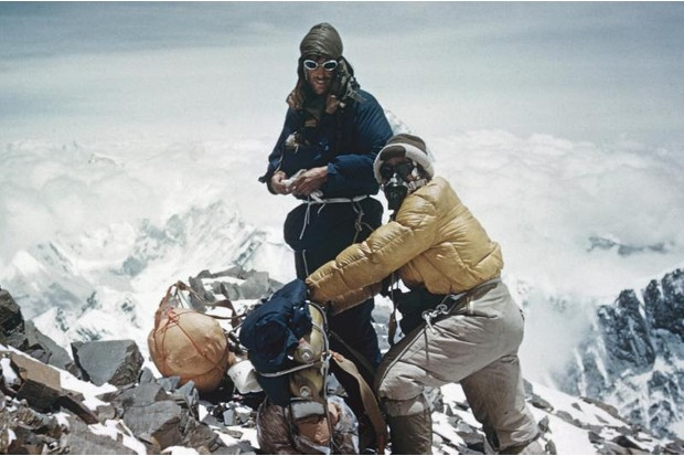 A photograph of Edmund Hillary and Tenzing Norgay