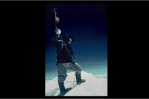 A photograph of Tenzing Norway at the summit of Everest