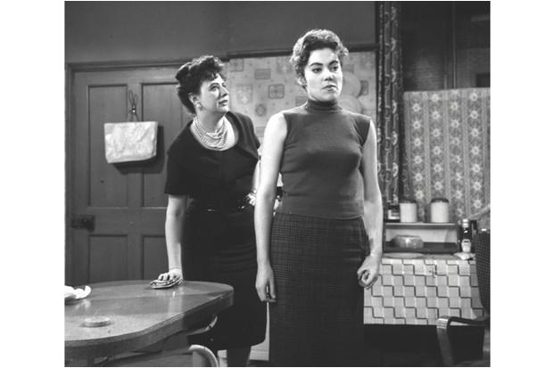Elsie Tanner (Pat Phoenix) and her daughter Linda Cheveski (Anne Cunningham) clash in the first ever episode of long-running soap opera 'Coronation Street'. (Shutterstock)