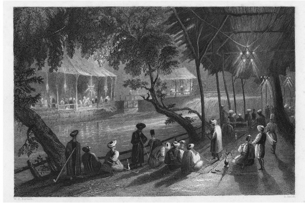 Cafés on a branch of the Barrada River (the ancient Pharpar), Damascus, Syria, 1841. From 'Syria, The Holy Land and Asia Minor', volume I, by John Carne, published by Fisher, Son & Co., London, 1841. (Photo by The Print Collector/Print Collector/Getty Images)