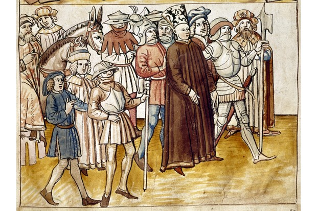 The capture of Jan Hus. Miniature of the 'Chronicle' of Ulrich of Richental. Prague, national library of the University. (Photo by Roger Viollet Collection/Getty Images)
