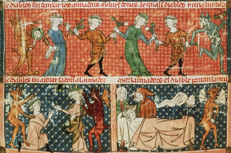 Temptation, scenes of devils in everyday life (a banquet, war, love, marriage etc), folio 215V of Breviary of Love, late 13th - early 14th century  Provencal codex by Ermengol de BŽziers (detail) | Photo Credit: [ The Art Archive / Real biblioteca de lo Escorial / Gianni Dagli Orti ]