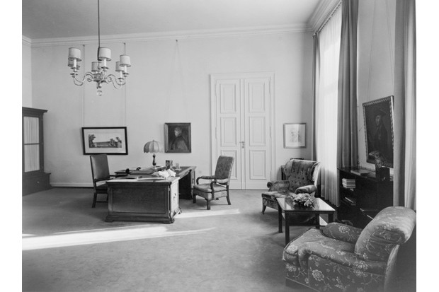 Photograph by Heinrich Hoffmann of Hitler's private study on the second floor of the Old Chancellery in Berlin after the 1934 renovation by the Atelier Troost. (Credit: Library of Congress, Washington, DC, Prints and Photographs Division)